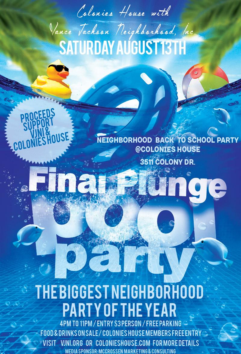 Vance Jackson Neighborhood Inc San Antonio Pool Party Flyer McCrossen Marketing
